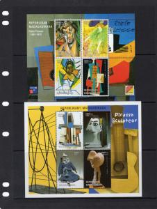 Madagascar 1999 Picasso Paintings and Sculptures 2 Sheetlets 4 values each MNH