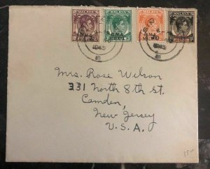 1946 Singapore Malaya Cover To Camden NY USA BMA Overprints