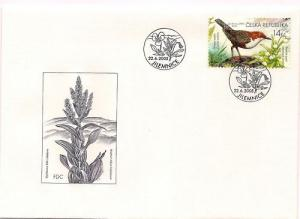 2005 CZECH REPUBLIC - SET OF 4 FDC: BUTTERFLIES & BIRDS