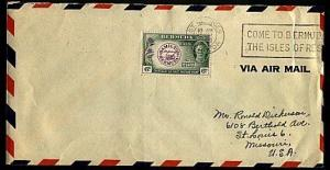 BERMUDA 1948 cover 6d Perot, St Georges to USA............................93402W