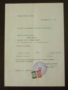 Yugoslavia 1985 Consular Revenue Stamps Used on Document B4