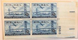 C36 Plane over Oakland Bay Bridge, MNH, block plate, Vic's Stamp Stash