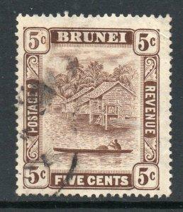 Brunei 1924 KGV 5c chocolate 5c retouch wmk MSCA SG 68a used CV £70