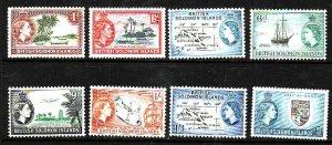 Solomon Is-Sc#89//105-unused NH part set-og-8 QEII values-1956-60-