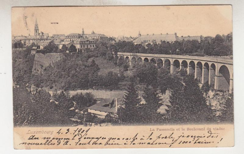 LUXEMBOURG, 1904 ppc.La Passerolle & Viaduct, 10c. to Charleroi..