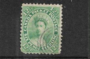 CANADA 1859 12 1/2c  BLUE GREEN QV  FU  Sc 18a Sg 41