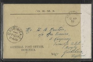 DOMINICA   (PP1109BB) 1958     OHMS FROM PO ABOUT STAMPS STAMPLESS TO ENGLAND