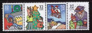 USA Scott 3108-3111a MNH** Christmas 1996 strip