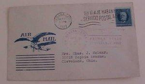 CUBA  ROESSLER CACHET FLIGHT LINDBERGH HABANA 1927 OCT 28