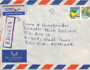 UGANDA Air Mail Cover Kampala Birds EXPRESS MIVA MISSIONARY Austria 1993 CA385