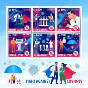 SIERRA LEONE - 2020 - Fight Against COVID-19 - Perf 6v Sheet - Mint Never Hinged