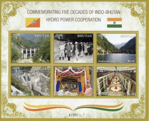 Bhutan Stamps 2019 MNH Five Decades Indo-Bhutan Hydro Power Cooperation 6v M/S
