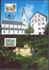 Liechtenstein 1986 Art Paintings Landscapes Architecture 2 Maxi Cards FDC
