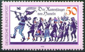 Germany Scott 1273 MH* 1978  Pied Piper stamp
