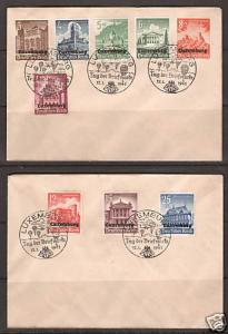 Luxembourg Sc NB1-NB9 FDC. 1941 cplt.on 2 matching FDCs