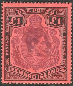 LEEWARD ISLANDS-1942 £1 Purple & Black/Carmine.  A lightly mounted mint Sg 114a
