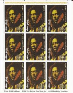 Mongolia - 1998 Bob Marley - 9 Stamp Sheet -   13F-035