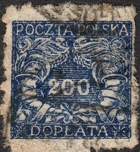 POLAND / POLEN - 1920 Postage Due Mi.P31 200h blue (thin paper) - Fine Used