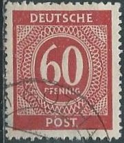 Germany 552 (used) 60pf numeral,brn red (1946)