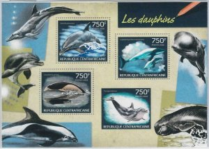887 - CENTRAL AFRICAN R. - ERROR - MISSPERF stamp sheet 2014 DOLPHINS