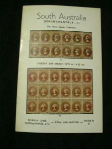 ROBSON LOWE AUCTION CATALOGUE 1979 SOUTH AUSTRALIA DEPARTMENTALS II