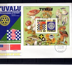 Tuvalu 1986 SG#376  Chess/Rotary/Fungi/Scouts SS Decorative Border FDC