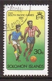 Solomon Islands  #447  used 1981 South Pacific Games 30c  soccer
