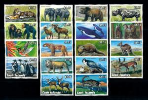 [97040] Cook Islands 1992 Wild Life Elephant Rhino Lion Owls Bear 18 Values MNH