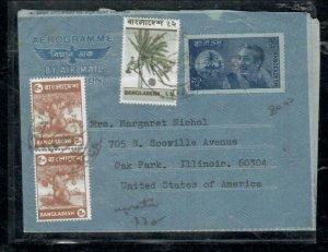 BANGLADESH COVER (PP0407B) 90P AEROGRAM +5PX2+   1976 TO USA