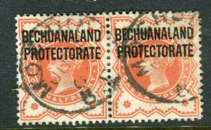 BECHUANALAND; 1897 early classic QV issue fine used 1/2d. Pair