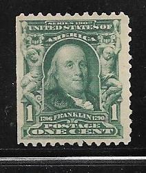 US# 300 1c Franklin , green, (MNG)  CV $11.00