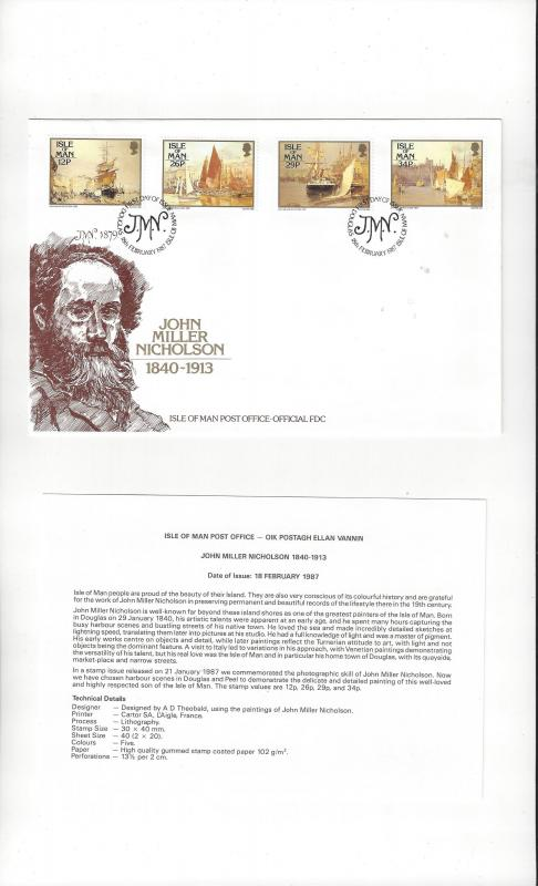 Isle of Man 327-30 John Miller Nicholson  1987  Official FDC
