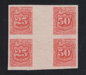 Salvador Sc J23, J24 MNG. 1896 25c & 50c Postage Dues, se-tenant Gutter Block