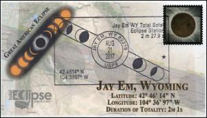 17-241, 2017, Total Solar Eclipse, Jay Em WY, Event Cover, Pictorial Cancel,