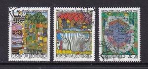 Liechtenstein   #1179-1181   cancelled  2000  art  Hundertwasser