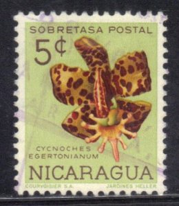 NICARAGUA SCOTT# RA72  USED  5c 1962  ORCHID  SEE SCAN