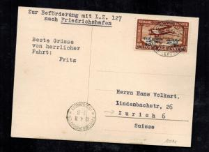 1931 Cairo Egypt Graf Zeppelin Airmail Postcard Cover to Switzerland # C3 LZ 127