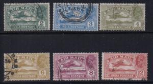 India Sc C1-6 1929-1930  airmail stamp set used