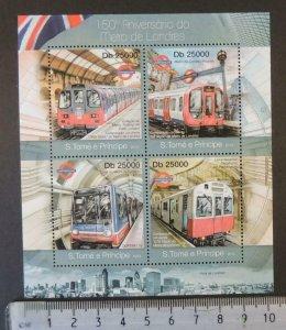 St Thomas 2013 london metro railways transport m/sheet mnh
