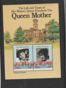 TUVALU-NANUAGA #49 1985 QUEEN MOTHER 85TH BIRTH MINT VF NH O.G S/S aa