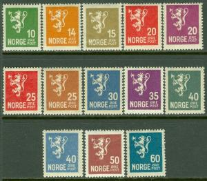 EDW1949SELL : NORWAY 1926-34 Scott #115-28 missing only #123 All VF MNH Cat $450