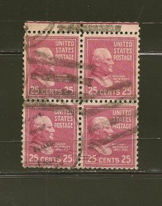 USA 829 McKinley Block of 4 Used