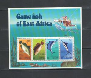 KENYA: Sc. 71A / *** Beautiful GAME FISHES ***/ Sheet of 4 / MNH.