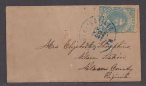 **CSA Cover, SC# 2 Paterson, Charlottesville, VA 10/20/1862, Stamp Trimmed