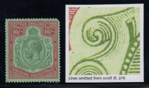 Nyasaland, SG 113g, MHR (gum bend) Lines Omitted from Scroll variety