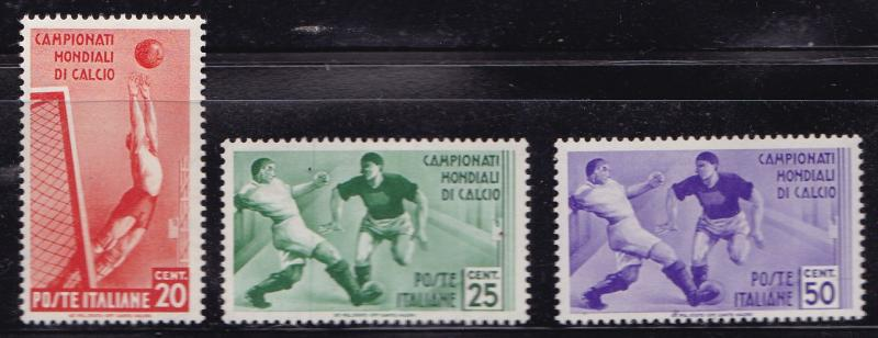 Italy 1934 2nd World Soccer Championship.Complete. 324-328+C62-C65. VF/Mint(*)