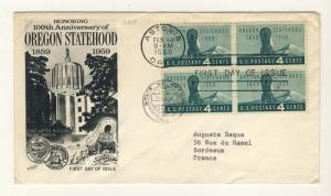 US - 1959 - Scott 1124 FDC - OREGON Statehood - Block of 4