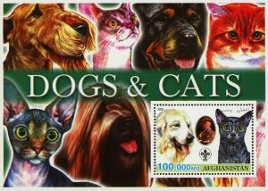Afghanistan Cats and Dogs Pet Domestic Animal Souvenir Sheet Mint NH