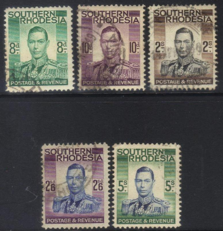 SOUTHERN RHODESIA 1937 DEFINS 5 USED HV'S CAT £20+