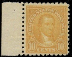US #591, 10¢ orange, og, NH, VF, Scott $85.00